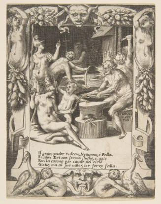 Vulcan, Neptune, Athena and other Gods making Shackles to pull Jupiter from the Heavens, set within an elaborate frame, from 'Loves, Rages and Jealousies of Juno'