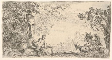 A satyr reclining at the foot of a staute of Priapus, goats at the right